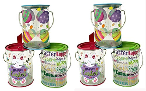 The Tin Box Company 980607-6DS 6 Pack Asst Designs - Easter Clear Cookie Or Favor Container Bucket, ()