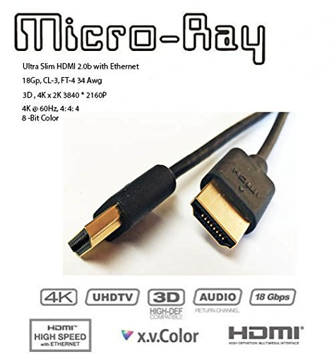 HDMI Cable 2ft Ultra Slim HDMI High Speed Cable with Ethernet 4K, 60Hz, CL3, 34awg Micro-Ray
