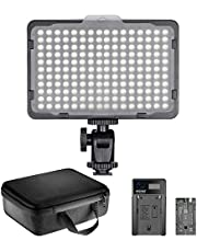Neewer 176 LED Video Light Lighting Kit: Dimmable 176 LED Panel, with 2200mAh Li-ion Battery, USB Battery Charger and Carrying Case for Product and Portrait Photography