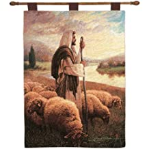 Manual Inspirational Collection 26 X 36-Inch Wall Hanging and Finial Rod, Good Shepherd by Greg Olsen