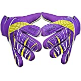 Goalkeeper Goalie Soccer Gloves - Kids & Youth Football Goal Keeper Gloves with Embossed Anti-Slip Latex Palm and Soft PU Hand Back (Purple, 6)