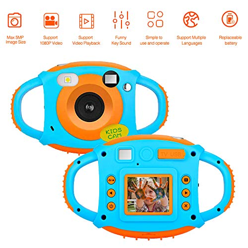 Kids Camera Childrens Camera with 1.77 HD Color Screen 5Mp Rechargeable Digital Mini Video Cameras for - Game 5 Digital Mp