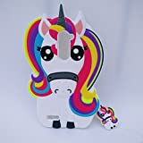 zte blade 3 case - Jinxtech Unicorn Shaped Adorable 3D Cute Cartoon Character Back Cover Soft Silicone Case with a Strap Compatible with for Zte Zmax Pro Z981/Zte Blade X Max Z983(6 Inch)(3D Unicorn)