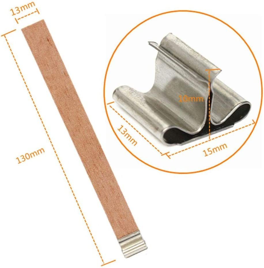 Natural Candle Wick for Candle Making Candle DIY PROKTH 100 Piece Wood Candle Wicks with Metal Stand