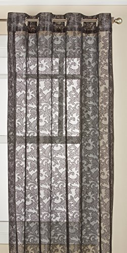 LORRAINE HOME FASHIONS Royale Lace Grommet Window Panel, 55 x 84 Inches, Black (Lace Panels Black Curtain)