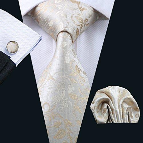 1167 Set Cufflinks Hanky Novelty CAOFENVOO Hanky Set Men's Silk Men's Print Tie Necktie Cufflinks Tie N Beiges 688aw