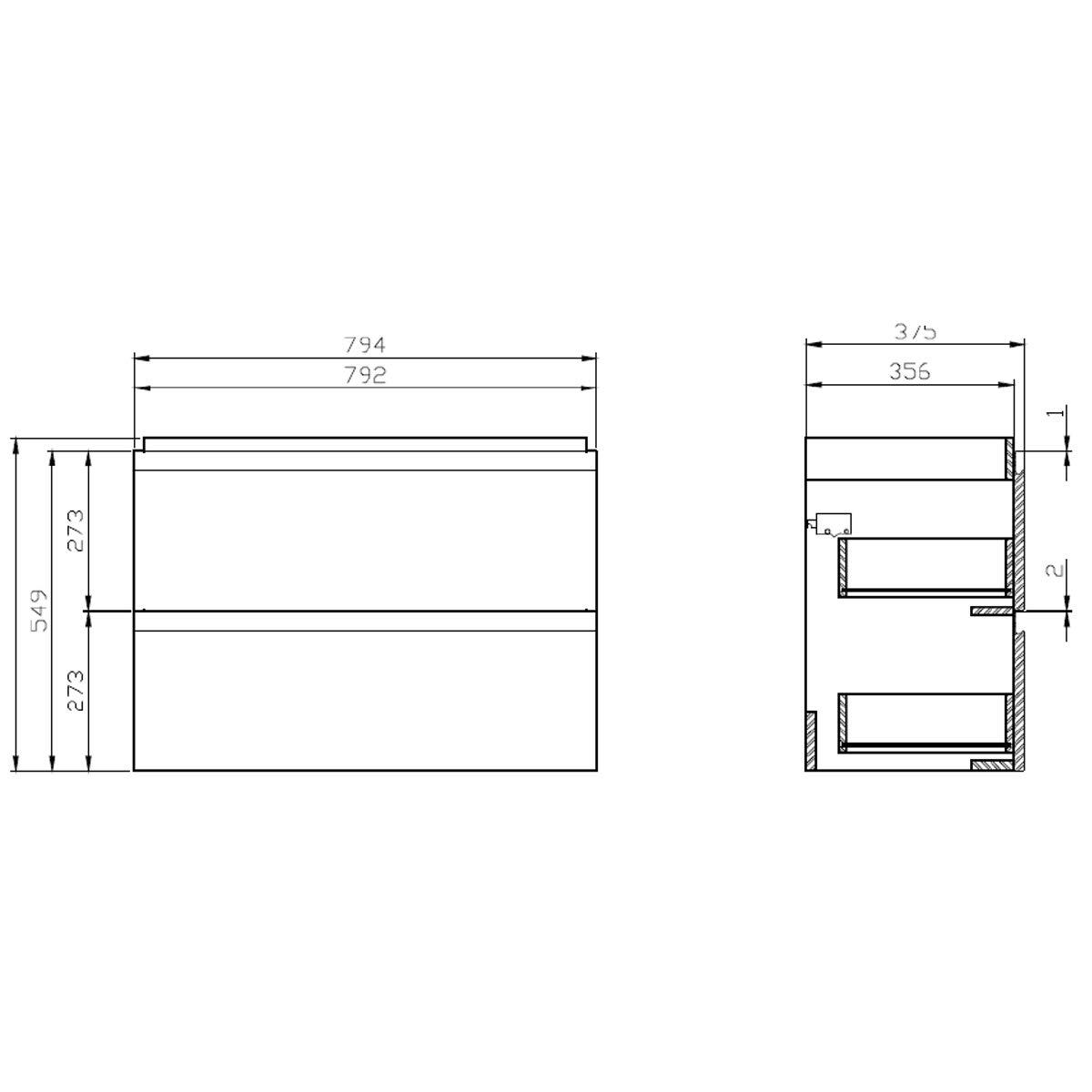 VBChome Das Moduo-Set Slim Grau 40 cm Waschplatz Badm/öbel Hochglanz Oberfl/äche Kleines G/ästebad Bestehend aus Waschplatz und Waschbecken Schmale Badezimmerm/öbel f/ür G/äste WC