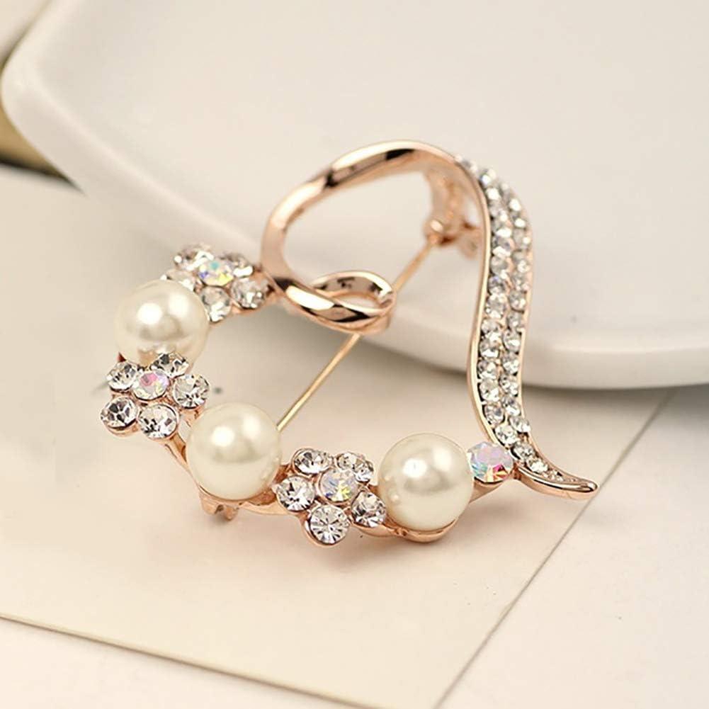 yongqxxkj Anstecknadel Pin Damenhemd mit wundersch/önen Perlen von Faux Strass Inlay Herz Fisch Distintivo Brosche Champagner