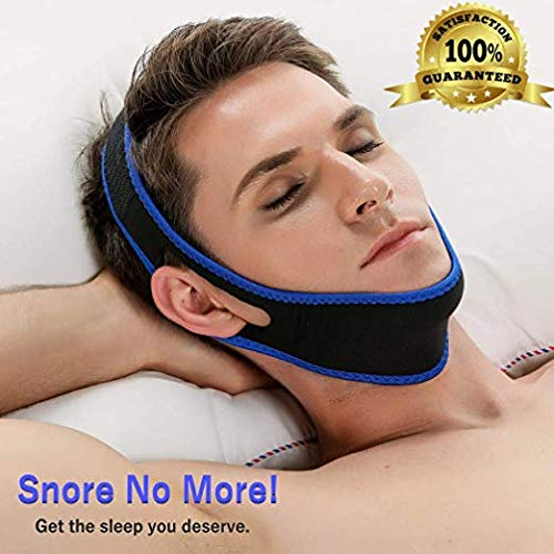 Premium Anti Snoring Chin Strap for Comfortable and Better Sleep, Anti-Snoring Device with Adjustable Jaw Strap - Flexible Fabric - Best Solution for a Peaceful Night