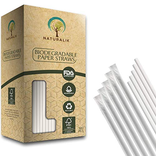 Naturalik 300-Pack Individually Wrapped Paper Straws JUMBO - 100% Biodegradable Dye-Free Premium White Paper Straws Bulk- Drinking Straws for Juices, Smoothies, Restaurant (Jumbo 10.2