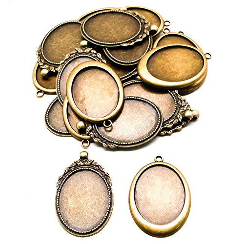 JETEHO 20pcs 2 Styles Vintage Oval Alloy Pendant Cabochon Bezel Settings - Fit Oval Tray: 40x30mm for Jewelry Making Necklace Accessories (Antique Bronze)