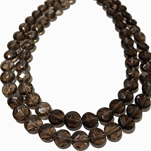 Brazilian Agate Bead ([ABCgems] Brazilian Smoky Quartz- Translucent 8mm Faceted Coin Beads)