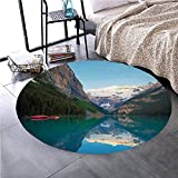 Memory Foam Round Area Rug Floor Kitchen Carpet, Lake House Decor,Lake Louise With A Red Canoe Banff National Park Canada Wilderness Nature Picture,Green Blue, Soft Flannel Non-Slip Absorbent Mat №062