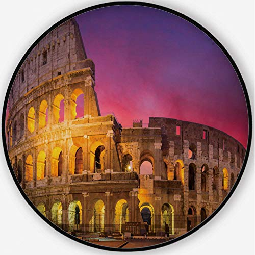 ALUONI View of Colosseum in Rome at Sunrise Colorful Round Mat, Cute Floor Mat,Italy for Kid's Room,4'Round (Best Place To See Sunrise In Rome)