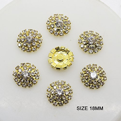 AngHui ShiPin 20pcs Gold Round Rhinestone Buckle Buttons Slider for Sew On Silver Plated Alloy Rhinestone Button Snap Flatback Crystal Button for Baby Hair Accessories Christmas Buttons