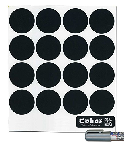 Cohas Chalkboard Labels for Libbey 4.5 Ounce Glass Spice Jars includes Liquid Chalk Marker and 48 Labels, Fine Tip, Silver (Spice Board)