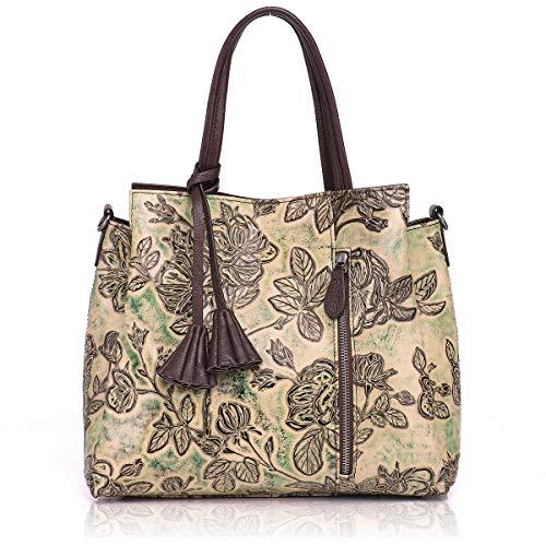 - APHISON Designer Unique Embossed Floral Cowhide Leather Tote Style Ladies Top Handle Bags Handbags(brown)