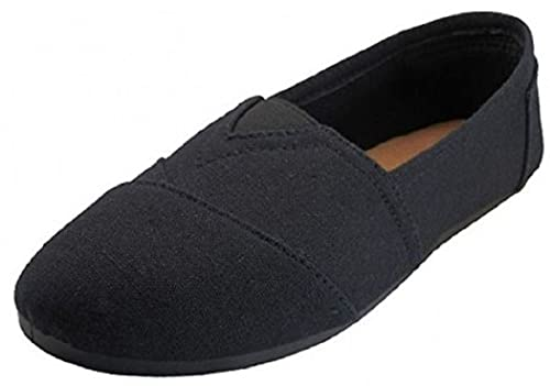ae2929140c04 Amazon.com   Easy USA Womens Canvas Slip on Shoes Flats   Loafers ...
