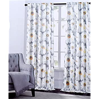 Amazon hillcrest window curtains arlene large flowers floral hillcrest window curtains arlene large flowers floral print grey or turquoise road pocket curtains 100 mightylinksfo