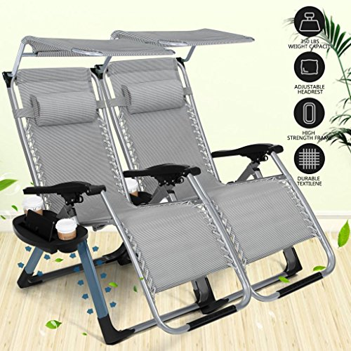 Heavy Duty Zero Gravity Outdoor Lounge Chairs Adjustable Folding Patio Reclining Chairs Beach Chairs With Canopy Sunshade + Cup Holder + Accessory Slot - Grey   (2 pieces chairs)