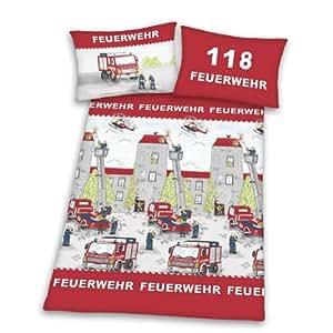 Herding 445173064 - Juego de funda nórdica y funda de almohada (160 x 210 cm y 65 x 100 cm respectivamente, 100% algodón), diseño de camiones de bomberos