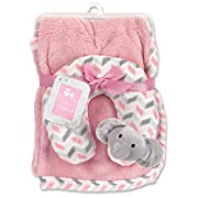 Cribmates Blanket with Neck Support, Pink/Grey/White Elephant