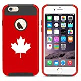 iphone 6 canada - Apple iPhone 6 6s Hybrid Shockproof Impact Hard Cover / Soft Silicone Rubber Inside Case Maple Leaf Canada (Red)