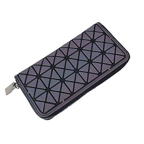 KAISIBO Women Geometric Rhomboids Lattice Long Wallet and Purse (Zipper Rectangle)