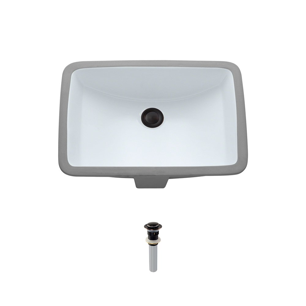 U1913-White Undermount Porcelain Bathroom Sink Ensemble, Antique Bronze Pop-Up Drain