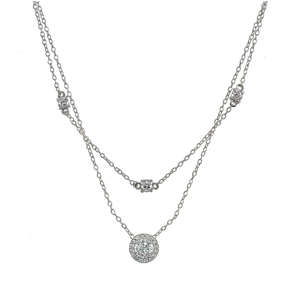 Sterling Silver Cubic Zirconia Round Halo Layered Choker Necklace