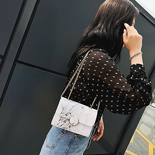 White Pattern Women Stone Bags Flap Creative Leather Marble Chain Patent Mini Cutogain Handbag Ladies qwO6xFg