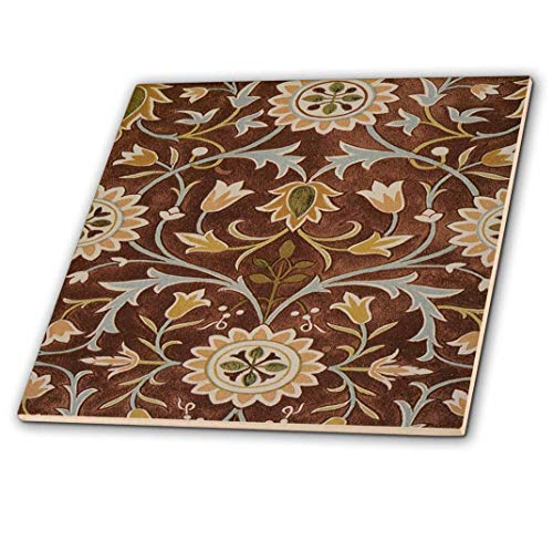 - 3D Rose Image of William Morris Little Flower in Brown Olive and Gold Ceramic Tile, Multicolor