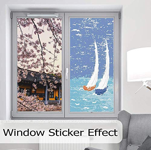 YOLIYANA Control Heat and Anti UV Window Cling,Sailboat Nautical Decor,Reduce Heat, Glare and Block Out Harmful UV Rays,Grunge Style Illustration of Two Racing Sailboats in,24''x48'' ()