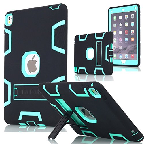 iPad Pro 12.9 Case, AICase Heavy Duty Hybrid Shockproof Hard Case Cover Rubber Stand For 2015 Apple iPad Pro 12.9 inch (Black/Mint Blue)