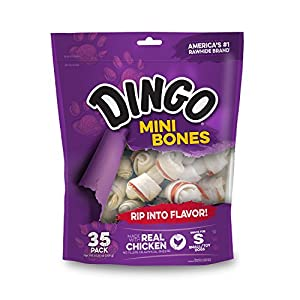 Dingo Mini Bones, Rawhide for Small or Toy Dogs, Made w/Real Chicken