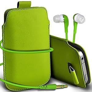 Online-Gadgets UK - Apple Iphone 4S premium protección PU Tire de la cubierta del caso Tab bolsa deslizamiento del cordón en el bolsillo y Coincidencia 3.5MM Auriculares Auriculares Auriculares - Verde