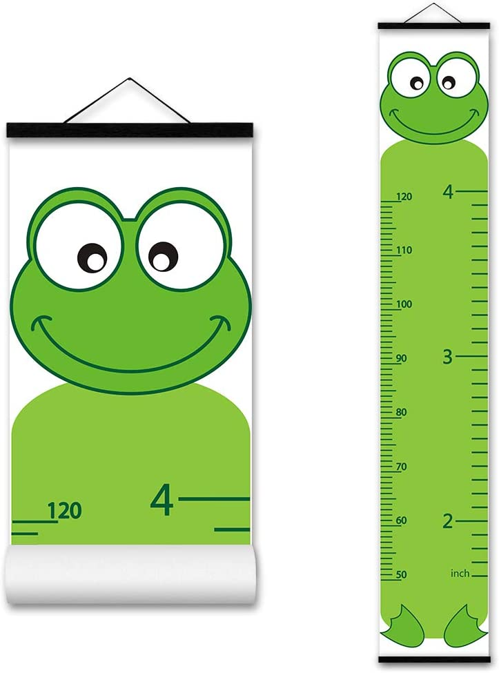 ASENART Height Growth Chart Cartoon Animal Frog for Kids – Portable Foldable Writable Waterproof Hanging Wall Ruler Growth Chart for Kids, Toddlers, and Babies