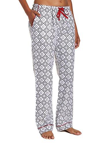 (Women's Premium Flannel Lounge Pant - Moroccan White-Black - Medium)