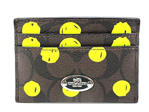 Coach Card Case Dot Print Brown Neon Yellow 63237svdlp