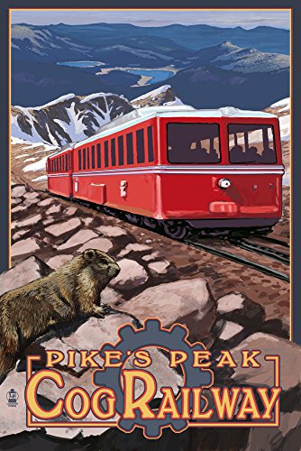 Pikes Peak Cog Railway, Colorado - Swiss Locomotive (12x18 Fine Art Print, Home Wall Decor Artwork Poster) ()