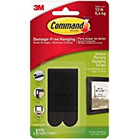 Command Picture Hanging Strips, Medium, Black, 4-Pairs (17201BLK-ES)