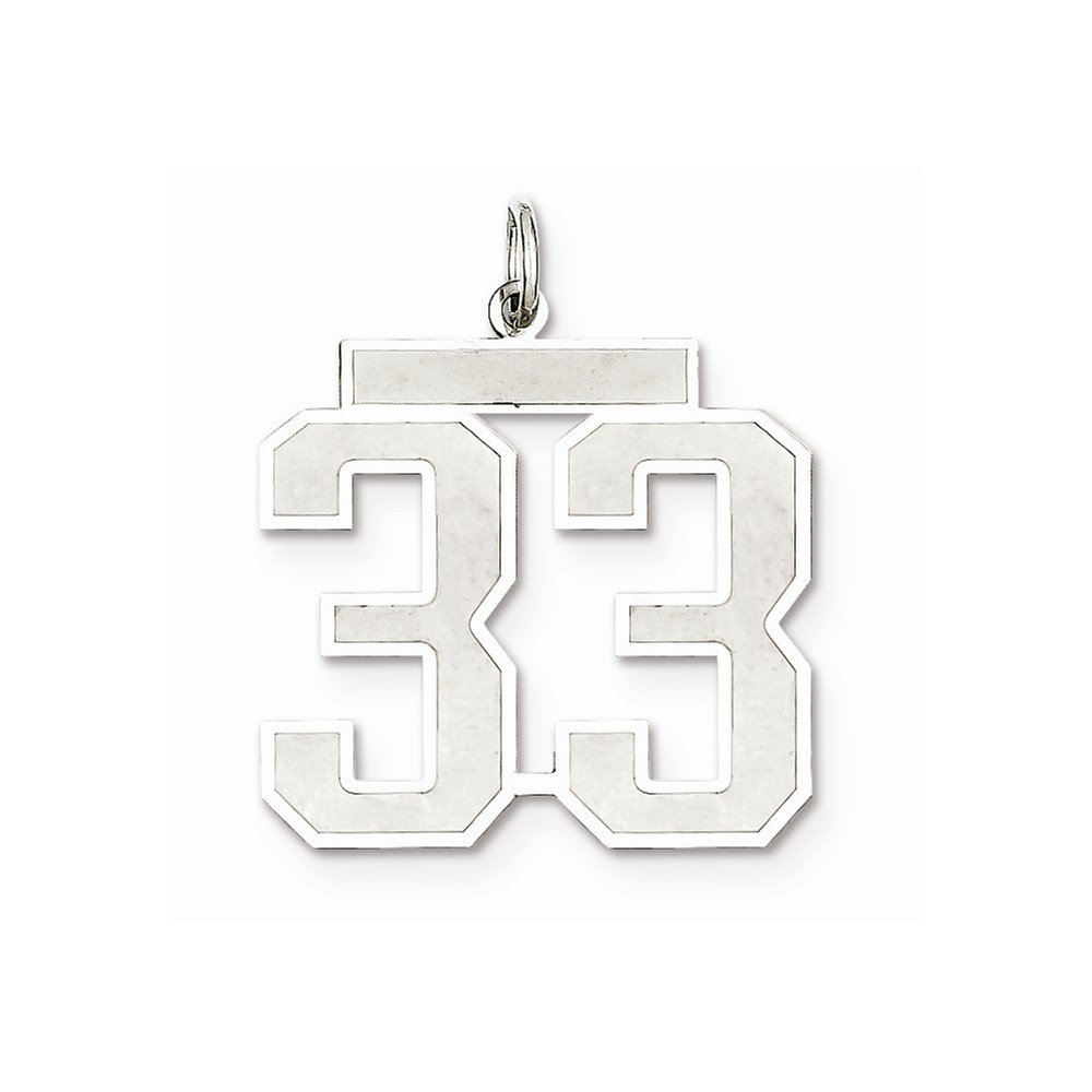 21mm x 25mm Solid 925 Sterling Silver Large Satin Number 33