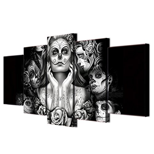 - Halloween Day of Dead Skull Canvas Wall Art Abstract Black and White Print Home Decor for Living Room Contemporary Pictures 5 Panel Large Poster Painting Framed Ready to Hang (70