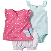Carter's 3 Piece Diaper Cover Set, Pink Butterfly, 3 Months