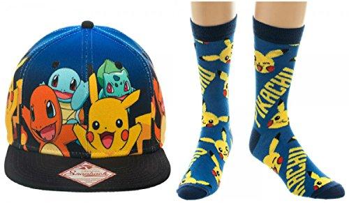 Pokemon Original Starters Blue Gradient Snapback Hat & Pikachu Crew Socks Set (Pokemon Mankey Card)