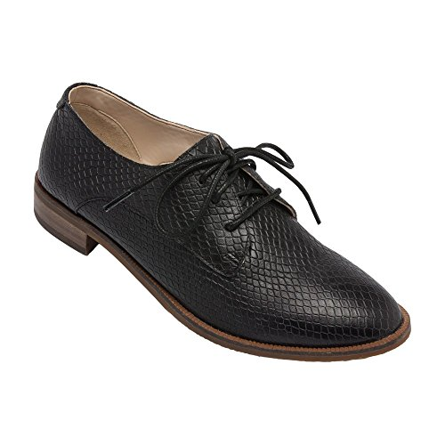 PIC/PAY Jonas -  Women's Lace-up Oxford - Classic Flat Leather Menswear Style Loafer Shoes Black Printed Leather 9M by PIC/PAY