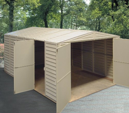 Duramax 01014 vinyl garage shed with foundation and window for Garden shed uae