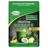 Morlife Alkalising Greens Pineapple Coconut 300g – 21 Super Greens, Fruits and Vegetables, Pre & Probiotics, Key Alkalising Minerals, Vegetarian Greens Powder, 30 Serves, Pineapple Coconut 300g