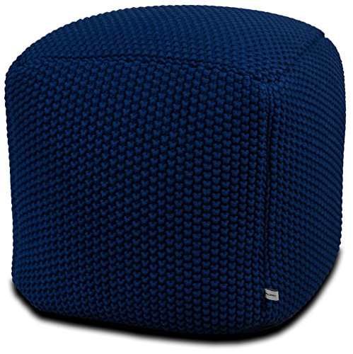 Urban Legacy Crocheted/Knitted Ottoman Pouf (100% Cotton, Handmade, Square, Beautiful, Soft and Lightweight, Available in Four Colors) | by (Blue) (Square Legacy)