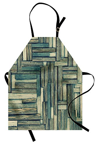 Ambesonne Wooden Apron, Lumberjack Old Vintage Classic Deck Tree Forest Woods Natural Artwork Image, Unisex Kitchen Bib Apron with Adjustable Neck for Cooking Baking Gardening, Sage Green (Lumberjack Costume Images)